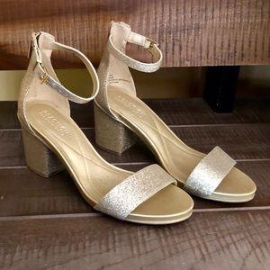 Kenneth Cole gold sparkly ankle strap sandal heel